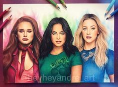 🎆RIVERDALE x POWERPUFF GIRLS🎆 drawn with colored pencils and pastel pencils. Pleaaaase please tag @camimendes @lilireinhart @madelame!!! ❤️