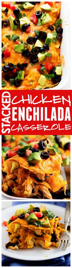 This Loaded Stacked Chicken Enchilada Casserole is the BEST casserole that I have had!! Loaded with so many amazing ingredients and ready to throw in the oven in less than 10 minutes!!