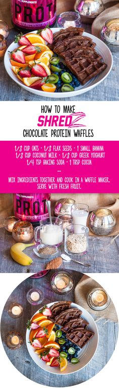 Make your kitchen a #shredzkitchen and try these mouth-watering Chocolate Protein Waffles today! #weightloss #protein #breakfast