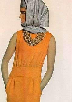 For Vogue 1965    Sondra Peterson is wearing a wool dress and a scarf-hat by Halston. Photographed by Irving Penn.
