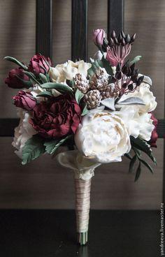 """Купить Букет невесты """"Татьянин день"""" - бордовый, марсала, букет невесты, свадебные аксессуары"""