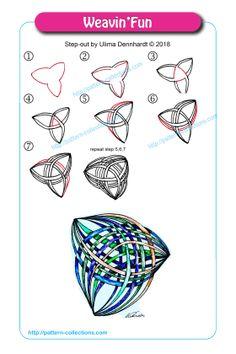 Weavin& by Ulima Dennhardt - Tangle Doodle, Tangle Art, Doodle Art, Easy Zentangle Patterns, Zen Doodle Patterns, Zentangle Drawings, Doodles Zentangles, Zen Art, Pattern Drawing