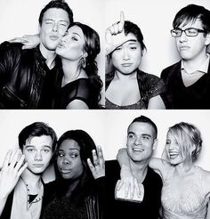 "Original Glee cast: Cory Monteith (Finn Hudson), Lea Michele (Rachel Berry), Jenna Ushkowitz (Tina Cohen-Chang), Kevin McHale (Artie Abrams), Chris Colfer (Kurt Hummel), Amber Riley (Mercedes Jones), Mark Salling (Noah ""Puck"" Puckerman), Dianna Agron (Quinn Fabray)"