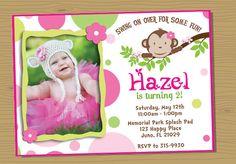 Mod Monkey Girl Photo Birthday Invitation  by Juicyfruition, $12.00