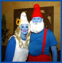 Coolest Diy Papa Smurf And Smurffette Halloween Couple Costume Ideas