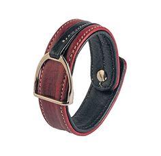 Leather bracelet with stirrup – BURGUNDY & BLACK Equestrian, Burgundy, Belt, Bracelets, Leather, Accessories, Black, Jewelry, Fashion