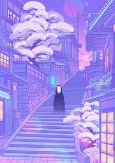 Last Artwork of the Decade! Illustration of No Face from spirited Away Scenery Wallpaper, Aesthetic Pastel Wallpaper, Purple Wallpaper, Kawaii Wallpaper, Aesthetic Backgrounds, Aesthetic Wallpapers, Retro Wallpaper, Wallpaper Quotes, Iphone Wallpaper