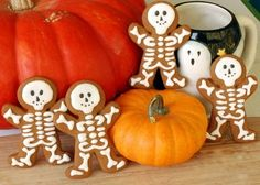 Skeleton cookies using a gingerbread man mold.  How fun!