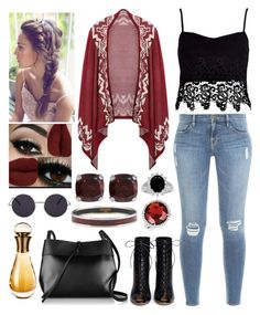 """""""Boho look. """" by kcliffxx on Polyvore featuring Frame Denim, River Island, Jewel Exclusive, Hermès, Kevin Jewelers, Gianvito Rossi, Kara and Christian Dior"""