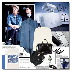 """""""The Denim Issue"""" by rainie-minnie ❤ liked on Polyvore featuring MANGO, 69, Burberry, Givenchy, adidas Originals, Danese and Universal Lighting and Decor"""