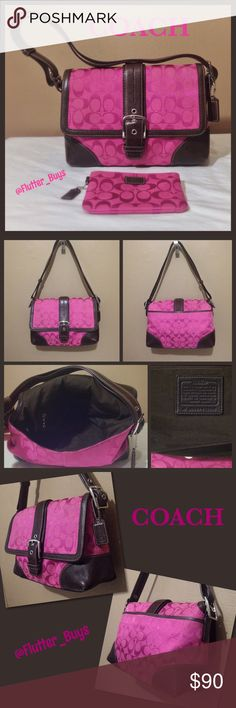 Coach Signature Crossbody Convertible Bag Pink signature jacquard with dark brown leather trim and silver hardware. Interior has brown lining and 3 pockets (1 zips). Front flap snap closure with buckle detail. Strap is adjustable to wear 3 different ways. Great used condition. Has very slight wear on the bottom corners. Barely noticeable but please see pictures. Hang tag and BONUS matching wristlet. #F13018. Coach Bags Shoulder Bags