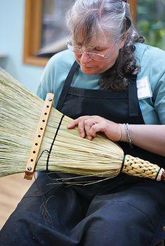 Broom making in Marlow Gate's class at the John C. Campbell Folk School | folkschool.org