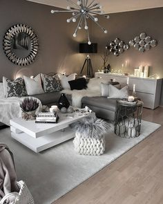 white living room and gray tricks how to arrange top ideas modern decoration 201 . salon blanc et gris astuces comment aménager top idées décoration moderne white living room and gray tricks how to arrange top ideas modern decoration 2018 Living Room Decor Cozy, Living Room Grey, Living Room Interior, Home Living Room, Apartment Living, Home Interior Design, Living Room Designs, Black White And Grey Living Room, Living Room Decorations