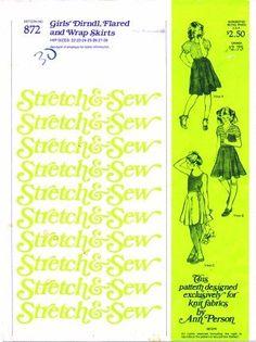 Stretch & Sew Pattern 872 ~ Girl's Dirndl Flared Wrap Skirts ~ Hip 22 - 28