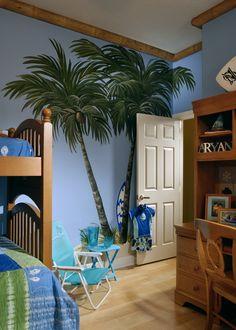 Surf Bedroom. I like the blue walls & wood trim. Tree is cute but a bit…