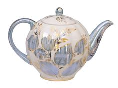 Lomonosov Moonlight pattern Russian porcelain teapot, pale blue and white w/ 22 karat gold highlights, Russia
