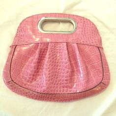 SALENine West PINK! Croc Clutch Bag Nine West PINKFaux Croc  Clutch perfect for any party or night out, hard-to-find style! Nine West Bags Clutches & Wristlets