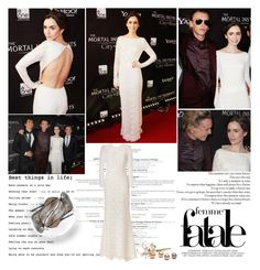 """""""Lily Collins.   The Mortal Instruments' Toronto Premiere!"""" by sarahutcherson ❤ liked on Polyvore featuring H2O+, Valentino, Jimmy Choo, GetTheLook and lilycollins"""