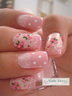 45 pretty pink nail art designs for creative juice colorful nails with white flowers Lace Nail Art, Lace Nails, Pink Nail Art, White Nail Art, Flower Nails, Colorful Nails, Stiletto Nails, White Nails, Nail Art Kawaii