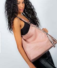 Pink handbag with rose gold trims and tassel Pink Handbags, Tassel, Camisole Top, Fashion Accessories, Rose Gold, Tank Tops, Dresses, Women, Halter Tops