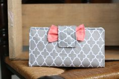 Quatrefoil Grey and Peach Women's Wallet // Perfect for the Dave Ramsey Plan or Everyday Use.