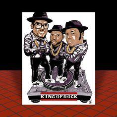 "RUN-DMC in their adidas ""KING OF ROCK"" artist signed POSTER ART rap, hip hop"