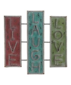 'Live Love Laugh' Wall Sign Live Laugh Love, Live Love, Metal Embossing, Metal Plaque, Metal Projects, Diy Projects, Amazing Decor, Get Happy, Colorful Wall Art