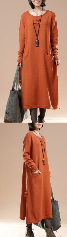 2016 orange long sweaters oversized winter dresses