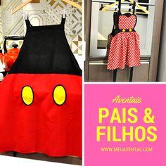 Avental Mickey e Minnie para Pai e Filha. Disponíveis para venda no site do Meu Avental. Entrega em todo Brasil.