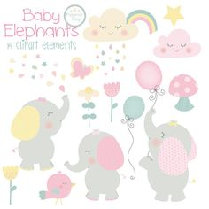 A super cute baby elephant clipart set, created using a pastel colour palette. Pack includes baby elephants, cute clouds, star, flowers, birdies and more. Perfect for party invites, scrapbooking, greetings cards, baby showers and all your baby themed crafts.