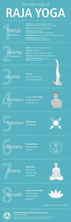The eight steps of Raja Yoga infographic