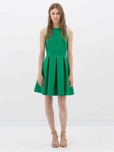 Green Sleeveless Vintage Pleated Dress