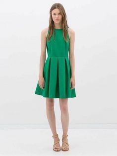 Green Sleeveless Vintage Pleated Dress