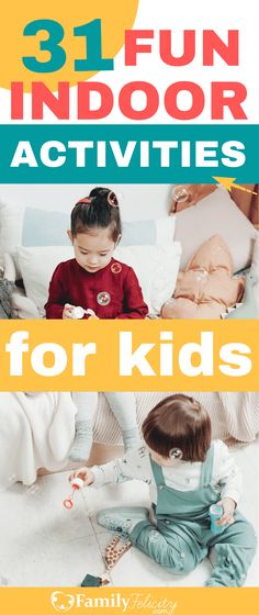 Activity Fun List: 31 Indoor Activities for Kids When You Can't Go Outside! – Rebel Without Applause Winter Activities For Toddlers, Indoor Activities For Toddlers, Kids Learning Activities, Craft Activities For Kids, Infant Activities, Educational Activities, Kid Activites, Kids Crafts, Kids And Parenting