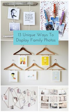 Creative and unique ways to display and hang photos.