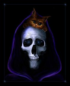 """""""Cats,"""" said Death. Cats are nice.""""  Death of Discworld by Aville"""
