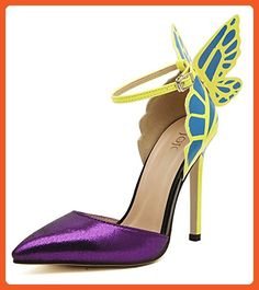 2016 American Women Colorful Butterfly Pointed Wedding High Heeled Shoes Woman Bow Party Bridal PumpsA8-9 (US 10, Purple) - Pumps for women (*Amazon Partner-Link)