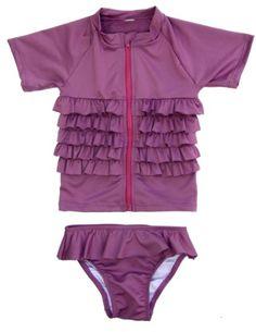 Amazon.com: SwimZip Ruffle Me Pretty - UV Sun Protective Rash Guard Swimsuit by SwimZip Swimwear: Clothing