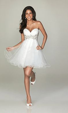 Short Strapless Sweetheart Tulle Dress at SimplyDresses.com