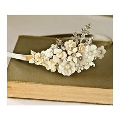 FREE SHIPPING Bridal Headband Bridal Hair Accessories Vintage Shabby... ❤ liked on Polyvore