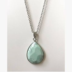 Light Mint Green Teardrop Necklace