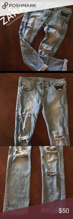 ZARA Ripped Distressed Skinny Jeans Waist: 32-34'+ (has stretch) Inseam: 29'. Tagged as a 10. Zara Jeans Skinny