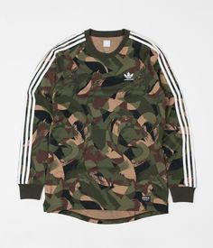 Adidas CA Camo Print Long Sleeve T-Shirt - Camo Print ##design #military-camouflage #sleeve