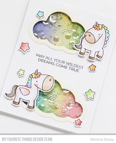 I want to share my card for My Favorite Things April The Birthday Project . Shaker cards are ridiculously addictive - both to cr. Baby Cards, Kids Cards, Unicorn Birthday Cards, Unicorn Cards, Karten Diy, Shaker Cards, Animal Cards, Scrapbook Cards, Scrapbooking