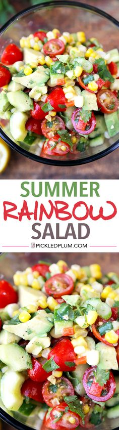 Summer Rainbow Salad - Bright, refreshing and so healthy! This summer rainbow salad takes less than 15 minutes to make from start to finish! Recipe, vegan, gluten free, salad, healthy, appetizer | pickledplum.com