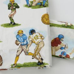 These easy-care printed cotton sheets feature a vintage football-inspired pattern in muted colors on a white background and a soft hand finish. This sheet set includes a flat sheet, fitted sheet and two pillowcases. Baby Boy Bedding, Baby Boy Rooms, Crib Bedding, Kids Rooms, Cotton Sheets, Cotton Sheet Sets, Cotton Fabric, Boys Football Room, Kids Sheet Sets