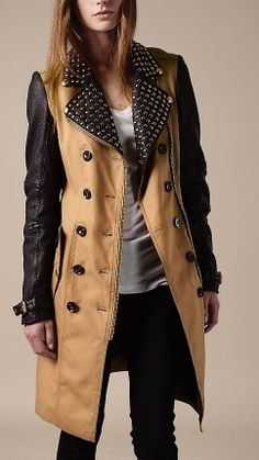 *falling over dead* Long Leather Detail Biker Trench Coat   Burberry