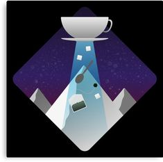 Little Flying Tea Saucer making a pit stop over sugar mountain to beam up provisions for a nice brew to drink& Print Design, Oriental, Vibrant Colors, Wraps, Mountain, Sugar, Artists, Canvas Prints, Tea
