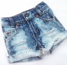 "Custom Distressed Denim ""Shorties"" Girls Cutoff Jean Shorts - Baby - Toddler - Kids Destroyed Denim"