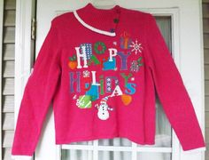 "NWT UGLY CHRISTMAS Sweater Sz L - ""Happy Holidays"" Great PARTY Sweater!! New! #TiaraInternational #ShawlNeck"
